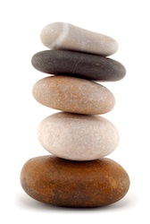 Earth, represented by pebbles, is one of the five Feng Shui elements